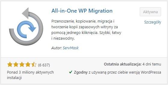 jak przenieść stronę wordpress na inną domenę - wtyczka all in one wp migration