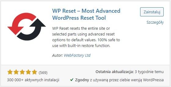 wtyczka wp reset - przywrócenie ustawień fabrycznych w wordpressie
